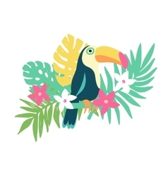 Tropical bird toucan and exotic plants and flowers vector