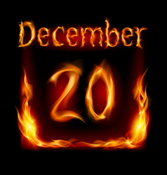 Twentieth december in calendar of fire icon on vector