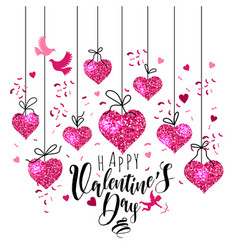 valentine s day greeting card set with hearts vector image