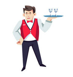 waiter in hotel restaurant with glasses on tray in vector image