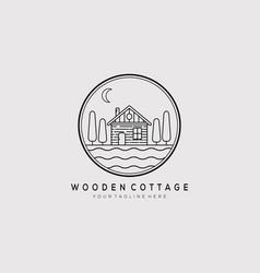 Wooden cottage line art logo design vector