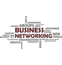 word cloud - business networking vector image