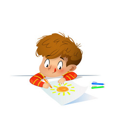 young drawing with colored wax crayons vector image