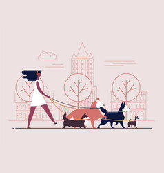 young girl wearing dress and headphones walks dogs vector image