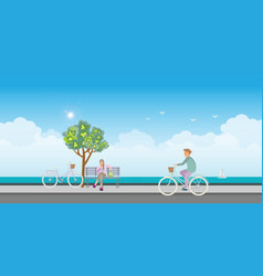 young man riding on bicycles and young woman vector image