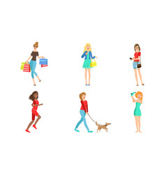 Young women daily activities set girls shopping vector