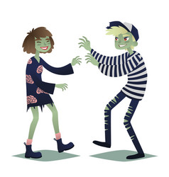 zombie couple cute young woman and man in style vector image
