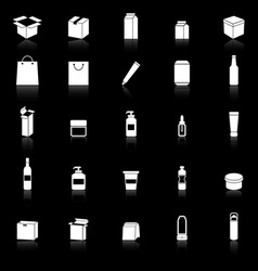 Packaging icons with reflect on black background vector