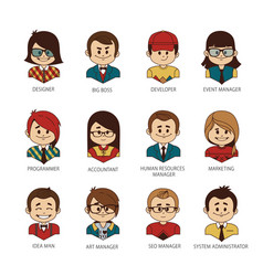 set of round people icons your office team vector image