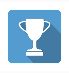 Trophy Cup Flat Icon with Long Shadow vector image vector image
