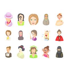 woman avatar icon set cartoon style vector image