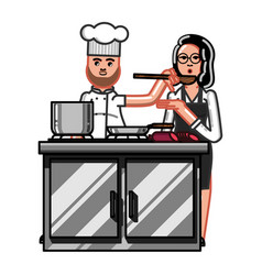 chief is cooking vector image