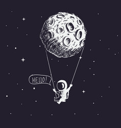 cute astronaut riding a swing tethered to the moon vector image
