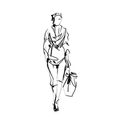Fashion model sketch vector image