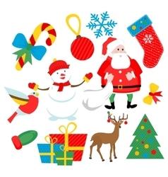 flat Christmas set vector image vector image