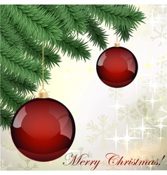 grungy background with Christmas ball hanging on vector image