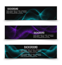 horizontal banner templates with digital flow wave vector image
