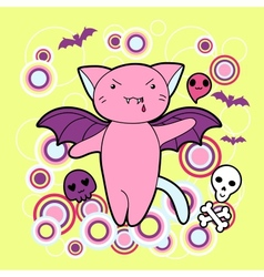 kawaii Halloween cat and creatures vector image vector image
