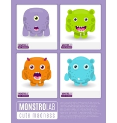Monstrolab Cute Madness set of cartoon vector image