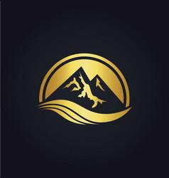 mountain icon gold logo vector image vector image