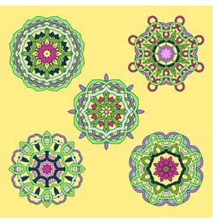 set from five round abstract ornament vector image