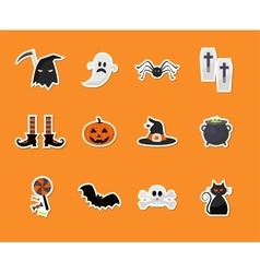 set of Halloween sticker icons vector image vector image
