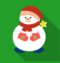 snowman in christmas cap icon in flat style vector image vector image