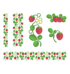 strawberry flat colors set vector image