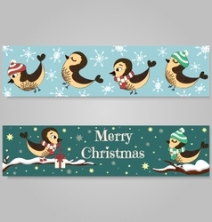 2 Christmas banners with birds branch snowflakes vector image