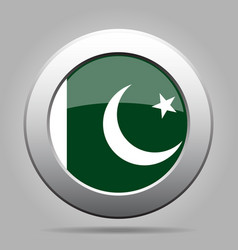 flag of pakistan shiny metal gray round button vector image