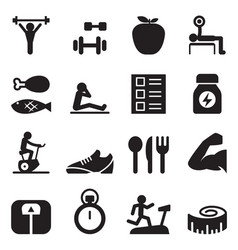 healthy exercise icons set vector image vector image