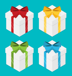 present boxes set with ribbons isometric vector image