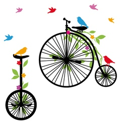 retro bicycles with birds vector image vector image