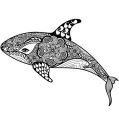 Zentangle stylized Sea Shark Hand Drawn isolated vector image