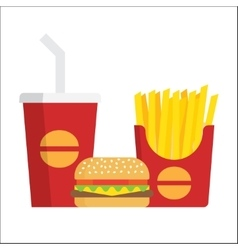 French fries burger and soda vector image vector image