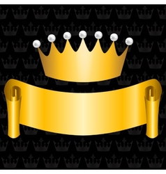 golden ribbon and crown vector image vector image