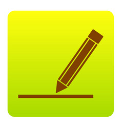 pencil sign brown icon at vector image