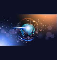 polygonal earth globe on bokeh background low poly vector image