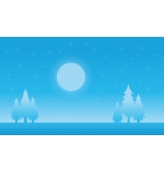 Silhouette of spruce and moon christmas scenery vector