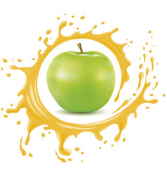 Apple with splash and many juice drops vector