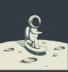 Astronaut rides on skateboard on moon vector