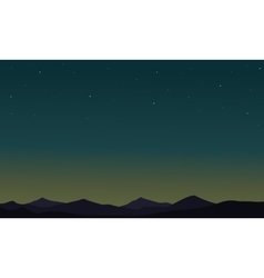 At night desert landscape of silhouettes vector