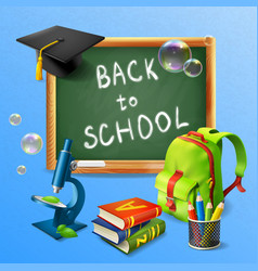 back to school realistic background vector image