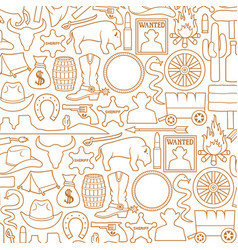 background pattern with wild west icons vector image