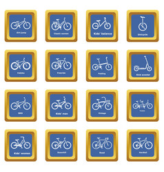 Bicycle types icons set blue square vector
