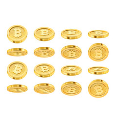Bitcoin realistic icon in different positions vector