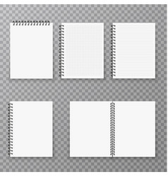 Blank open and closed realistic notebook vector