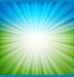 blue and green sunburst background vector image