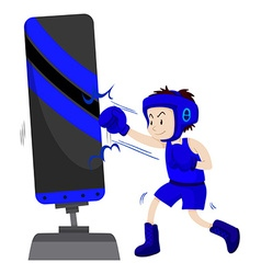 Boxer in blue outfit punching on punching stand vector image