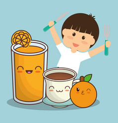 boy with juice chocolate and orange fruit vector image